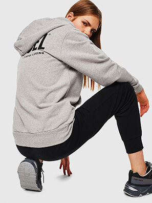 S-GIRK-HOOD-ZIP-LOGO, Grau - Sweatshirts