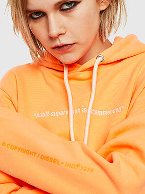 S-GIRK-HOOD-FLUO, Orange - Sweatshirts