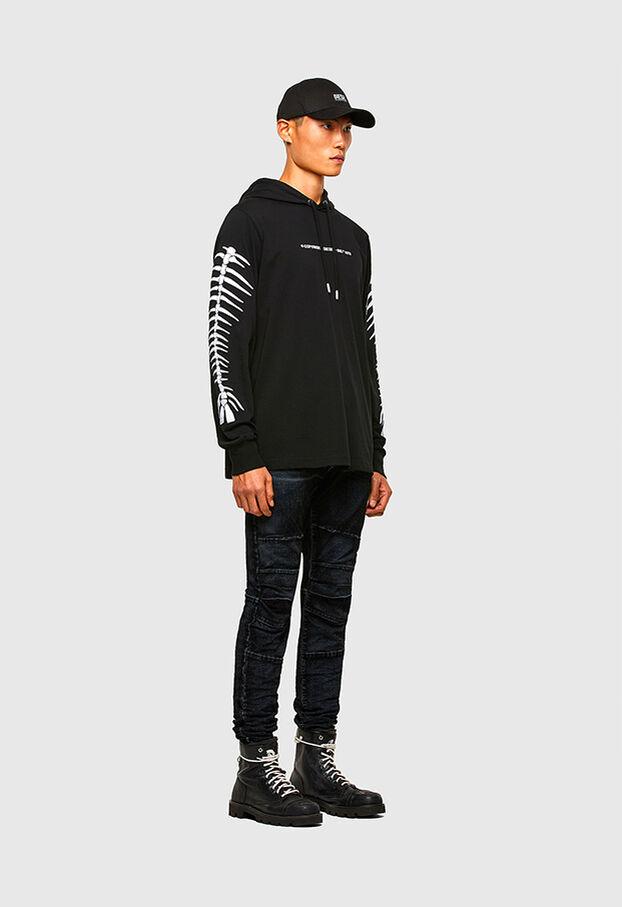 T-JUST-LS-HOOD-A6, Nero - T-Shirts