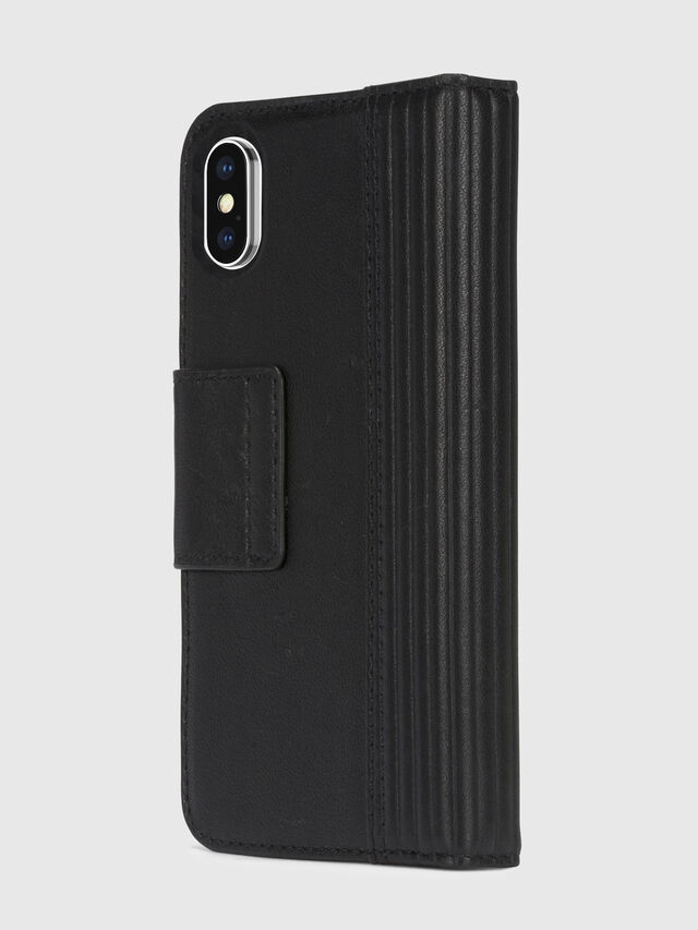 Diesel - BLACK LINED LEATHER IPHONE X FOLIO, Schwarz - Klappcover - Image 4