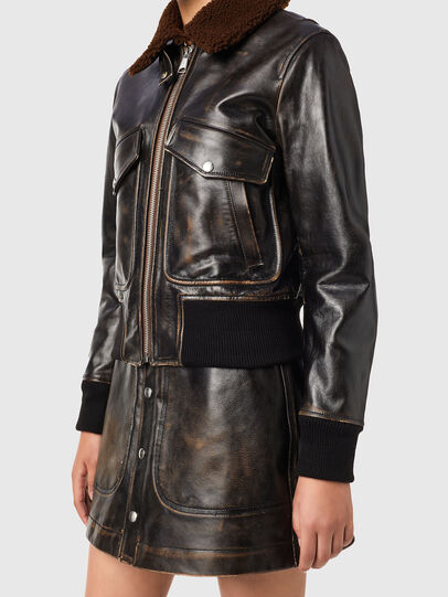 Diesel - L-TRACY, Black - Leather jackets - Image 4