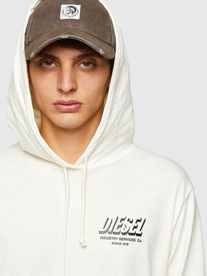 Diesel - T-JUST-LS-HOOD-SLITS, Bianco - T-Shirts - Image 3