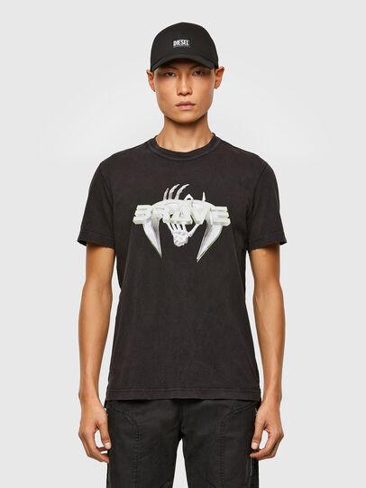 Diesel - T-DIEBIND-SLITS-A2, Nero - T-Shirts - Image 1