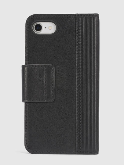 Diesel - BLACK LINED LEATHER IPHONE 8/7 FOLIO, Schwarz - Klappcover - Image 4