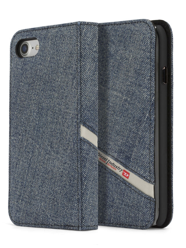 Diesel - DENIM IPHONE 8/7 FOLIO, Jeansblau - Klappcover - Image 1
