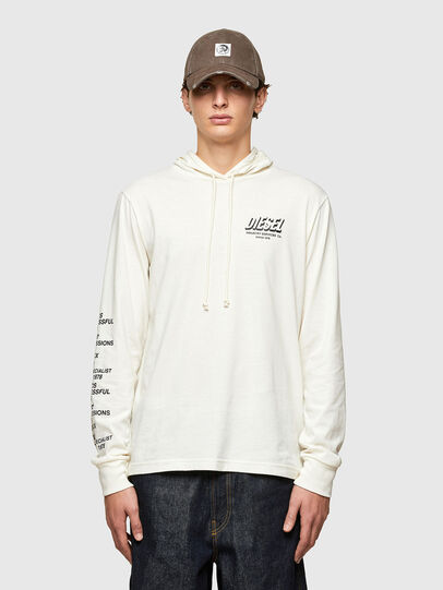 Diesel - T-JUST-LS-HOOD-SLITS, Bianco - T-Shirts - Image 1