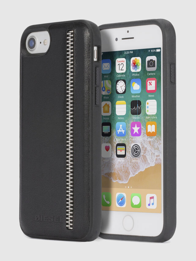 ZIP BLACK LEATHER IPHONE 8 PLUS/7 PLUS/6s PLUS/6 PLUS CASE, Schwarz