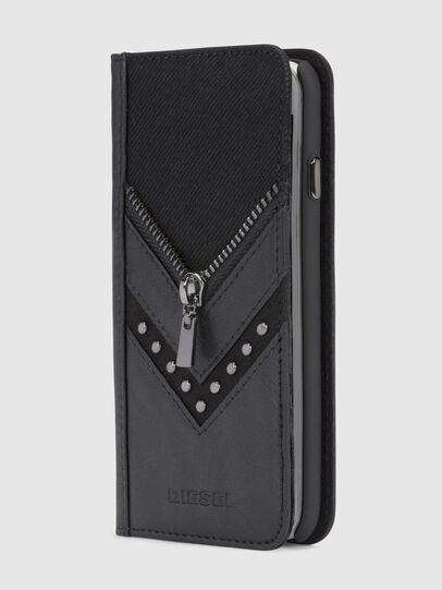 Diesel - BLACK DENIM/STUD/ZIPPER IPHONE 8/7 FOLIO, Schwarz - Klappcover - Image 1