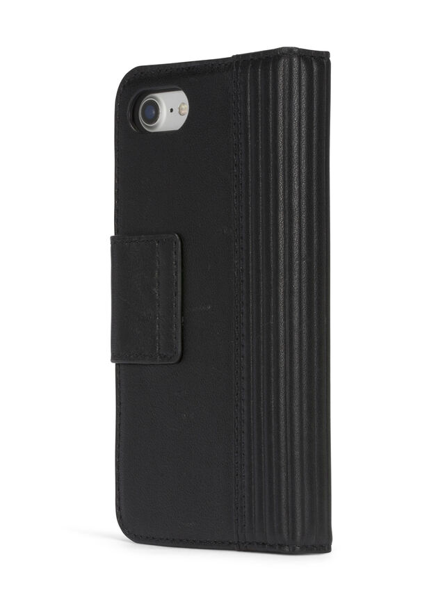 BLACK LINED LEATHER IPHONE 8 PLUS/7 PLUS FOLIO, Schwarz