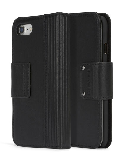 Diesel - BLACK LINED LEATHER IPHONE 8 PLUS/7 PLUS FOLIO, Schwarz - Klappcover - Image 3