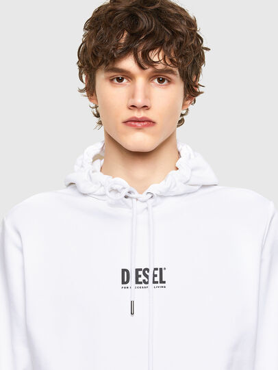 Diesel - S-GIRK-HOOD-SMALLOGO, Blanc - Pull Cotton - Image 3