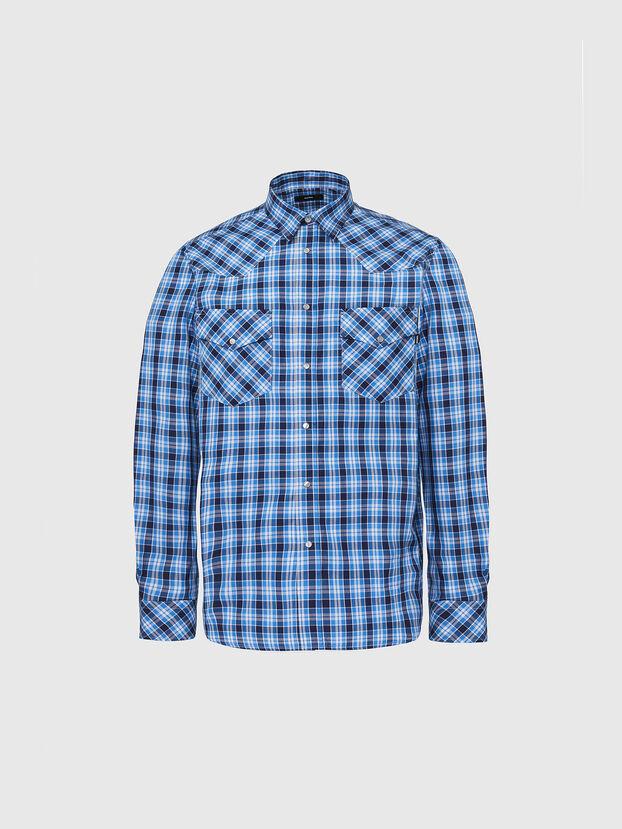 S-EAST-LONG-O, Blau/Weiß - Hemden
