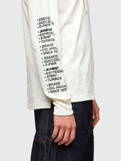 Diesel - T-JUST-LS-HOOD-SLITS, Bianco - T-Shirts - Image 4