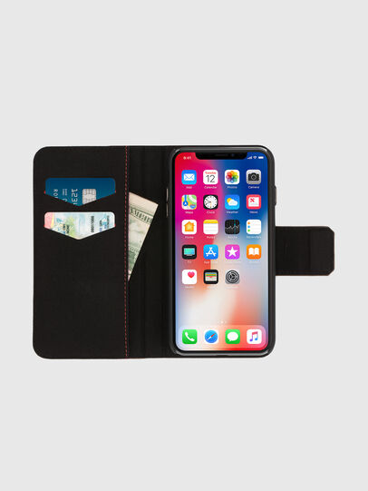 Diesel - BLACK LINED LEATHER IPHONE X FOLIO, Schwarz - Klappcover - Image 6