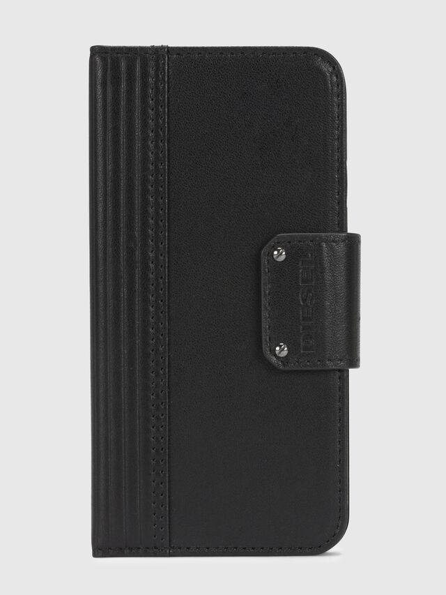 BLACK LINED LEATHER IPHONE X FOLIO, Schwarz