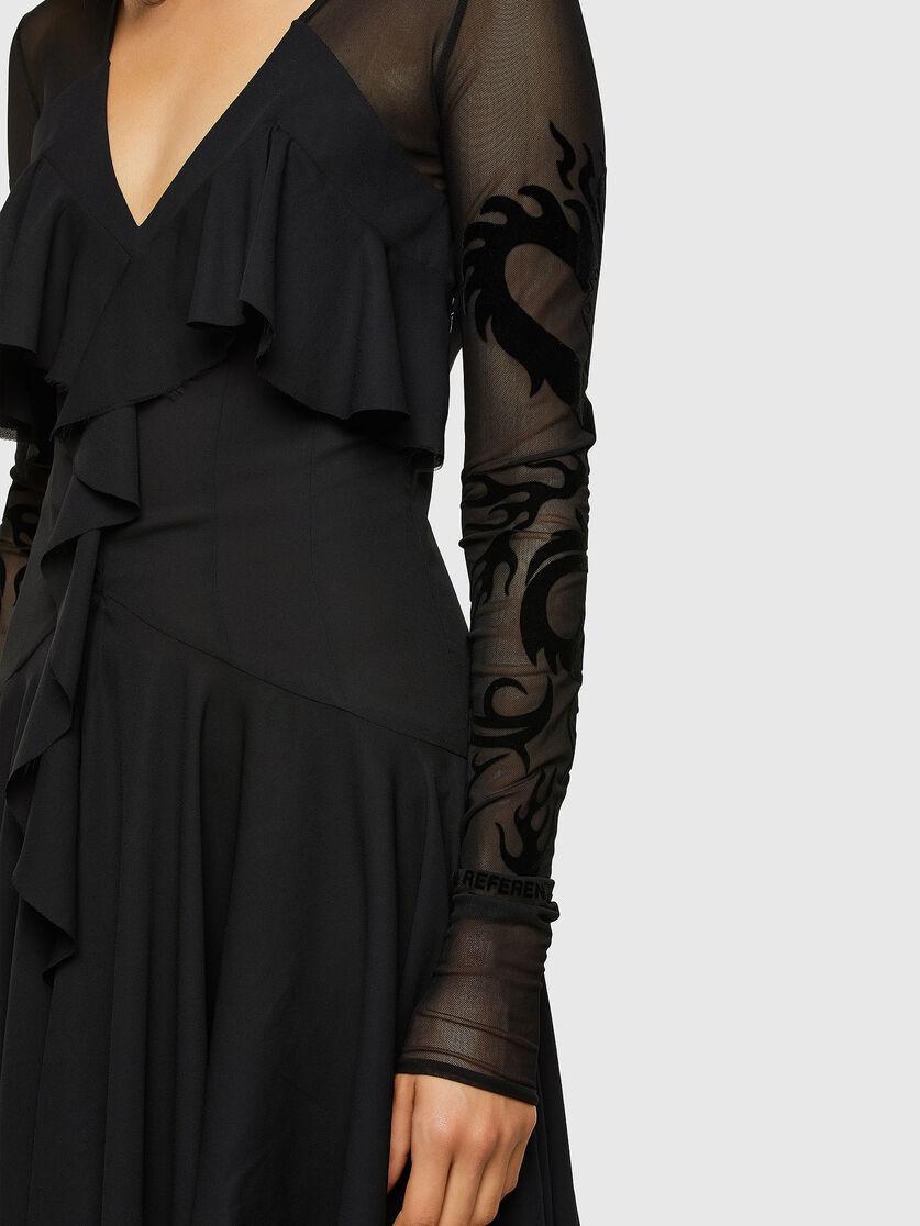 D-ADELE Damen: Kleid aus Georgette mit Ärmeln aus Mesh-Gewebe  Diesel