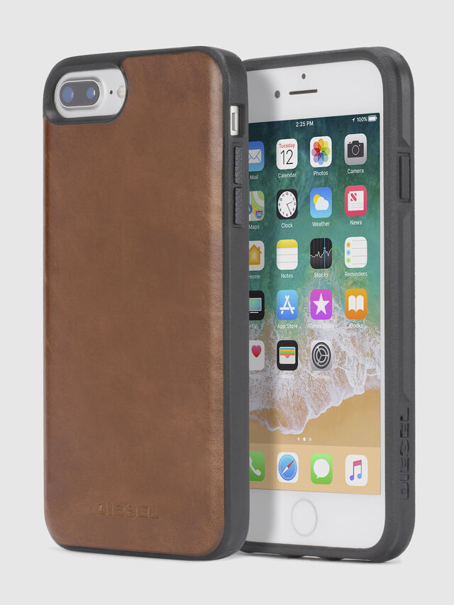 Diesel - BROWN LEATHER IPHONE 8 PLUS/7 PLUS/6s PLUS/6 PLUS CASE, Braun - Schutzhüllen - Image 1