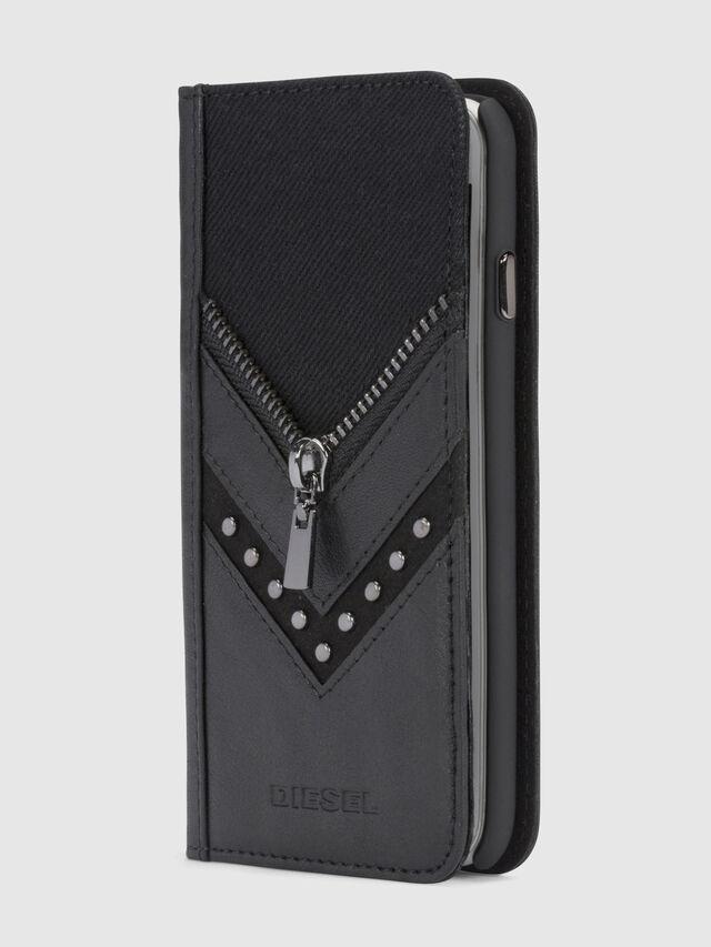 BLACK DENIM/STUD/ZIPPER IPHONE X FOLIO, Schwarz