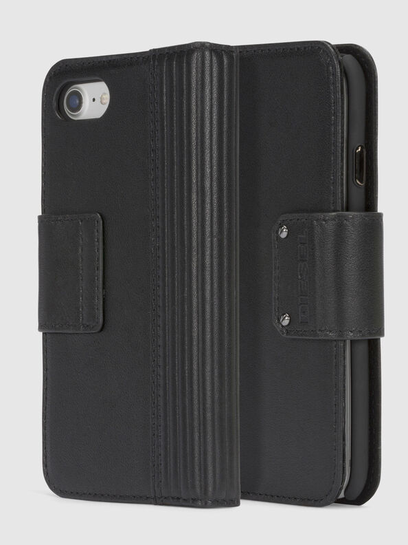 BLACK LINED LEATHER IPHONE 8/7 FOLIO,  - Klappcover
