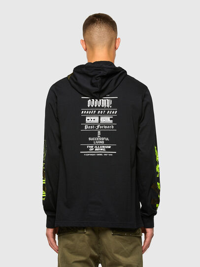 Diesel - T-JUST-LS-HOOD-TAPES, Schwarz - T-Shirts - Image 2