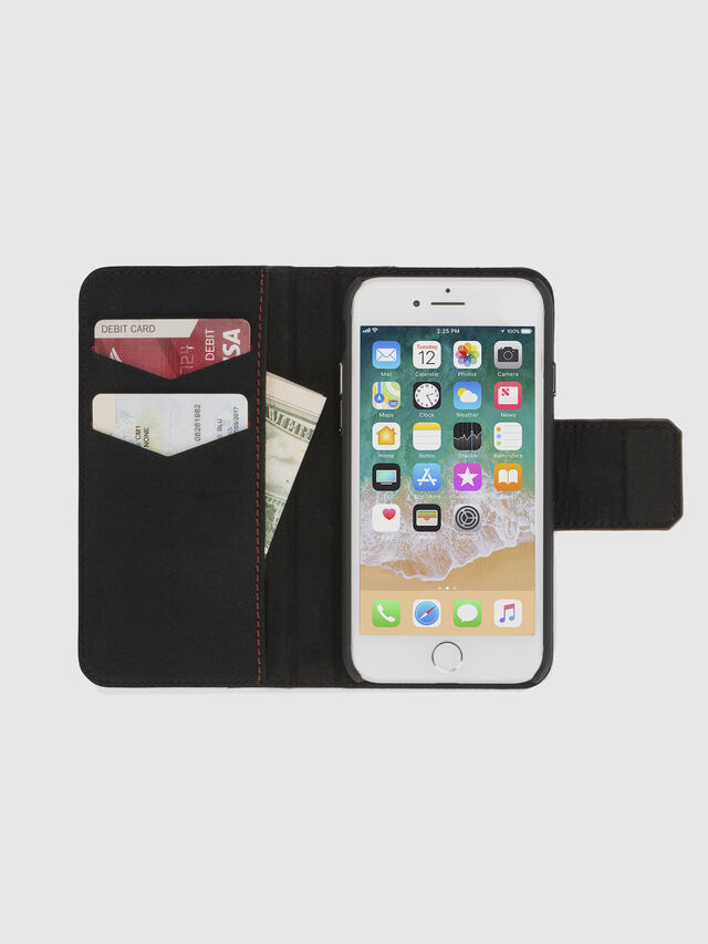 BLACK LINED LEATHER IPHONE 8/7 FOLIO, Schwarz