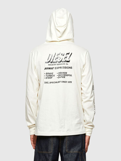 Diesel - T-JUST-LS-HOOD-SLITS, Bianco - T-Shirts - Image 2
