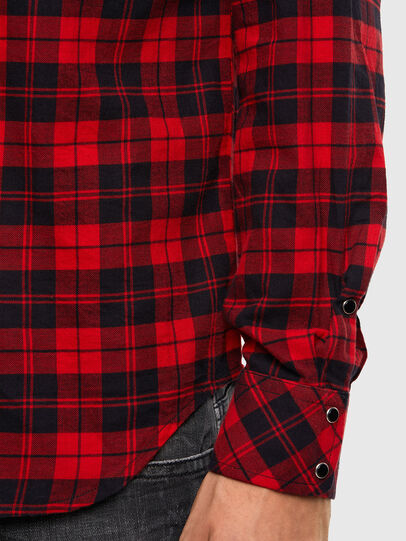 Diesel - S-EAST-LONG-CHK, Noir/Rouge - Chemises - Image 4