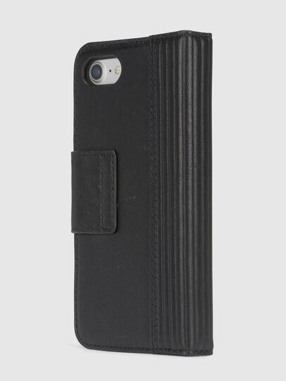 Diesel - BLACK LINED LEATHER IPHONE 8/7 FOLIO, Schwarz - Klappcover - Image 5
