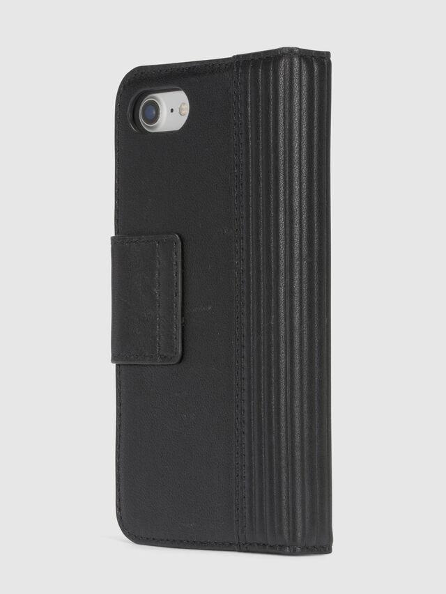 Diesel - BLACK LINED LEATHER IPHONE 8/7 FOLIO, Schwarz - Klappcover - Image 5