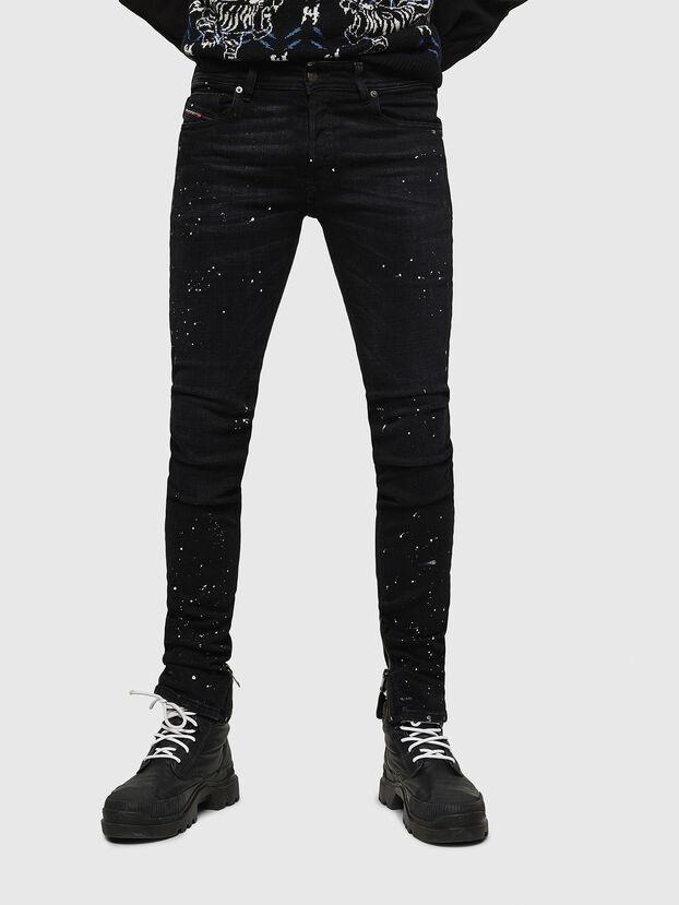 Sleenker Zip 0093X, Schwarz/Dunkelgrau - Jeans