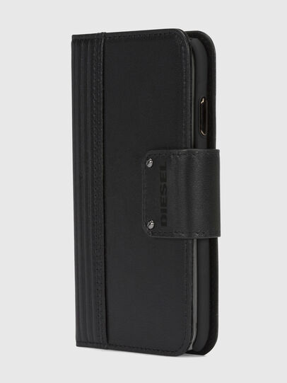 Diesel - BLACK LINED LEATHER IPHONE X FOLIO, Schwarz - Klappcover - Image 3