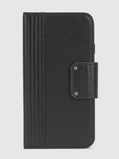 Diesel - BLACK LINED LEATHER IPHONE 8/7 FOLIO, Schwarz - Klappcover - Image 3
