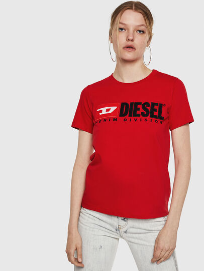 Diesel - T-SILY-DIVISION, Feuerrot - T-Shirts - Image 1