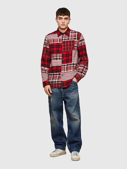 Diesel - S-MORRIS, Rosso/Bianco - Camicie - Image 5