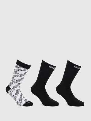 SKM-HERMINE-THREEPAC, Black/White - Socks
