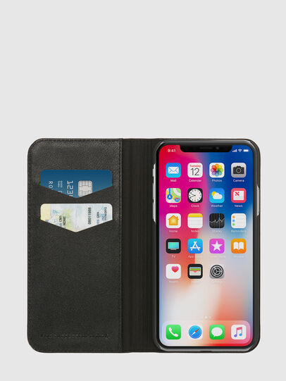 Diesel - SLIM LEATHER FOLIO IPHONE X, Schwarz - Klappcover - Image 6