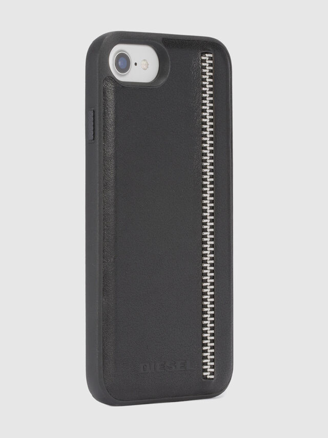 Diesel - ZIP BLACK LEATHER IPHONE 8/7/6s/6 CASE, Schwarz - Schutzhüllen - Image 5