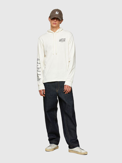 Diesel - T-JUST-LS-HOOD-SLITS, Bianco - T-Shirts - Image 5
