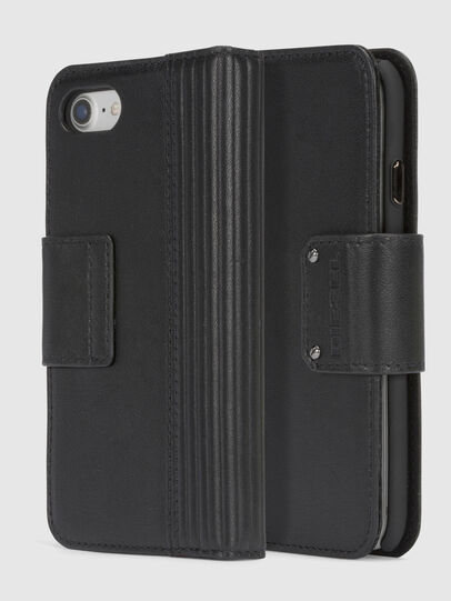 Diesel - BLACK LINED LEATHER IPHONE 8/7 FOLIO, Schwarz - Klappcover - Image 1