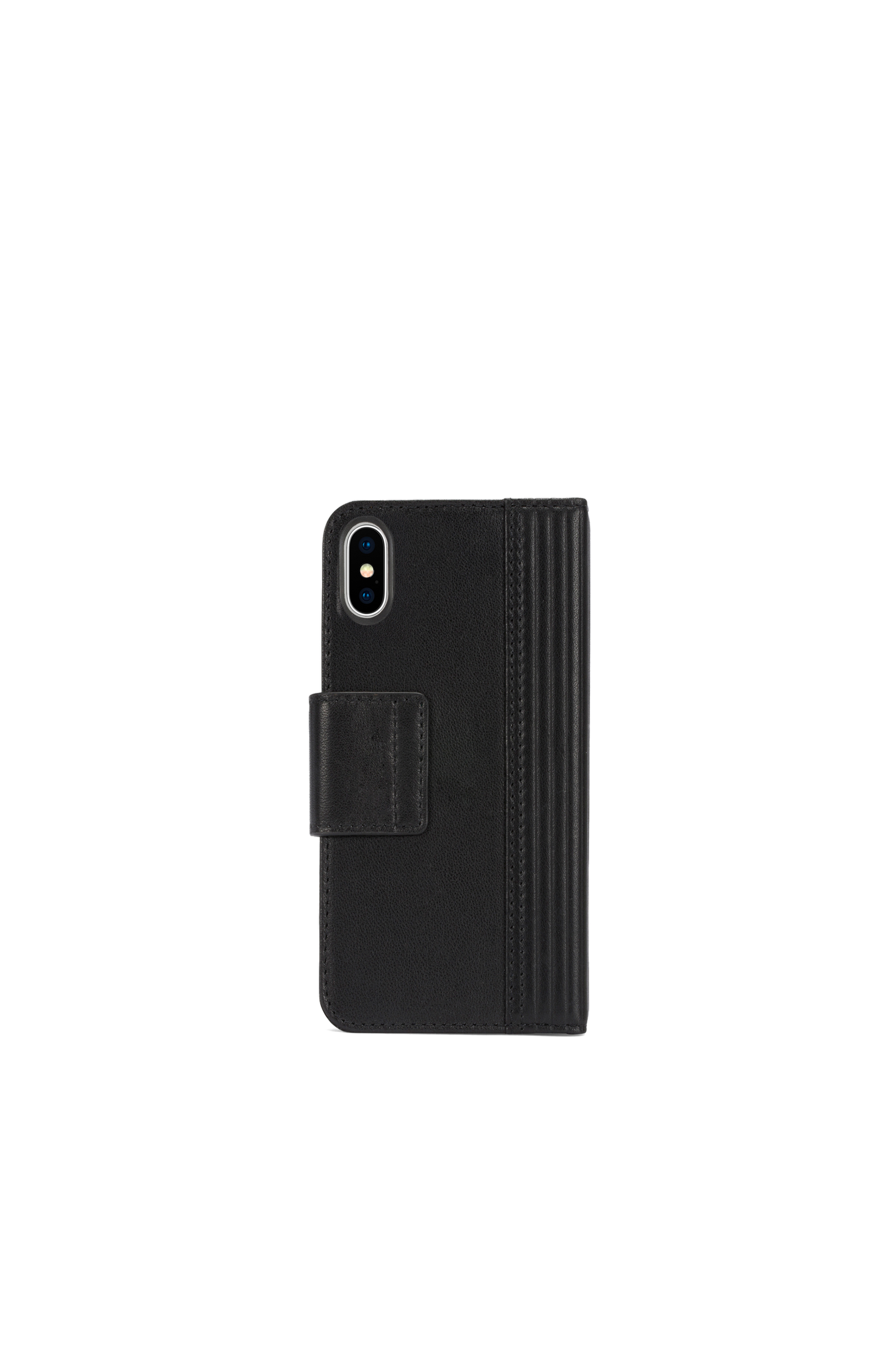 Diesel - BLACK LINED LEATHER IPHONE X FOLIO,  - Klappcover - Image 4