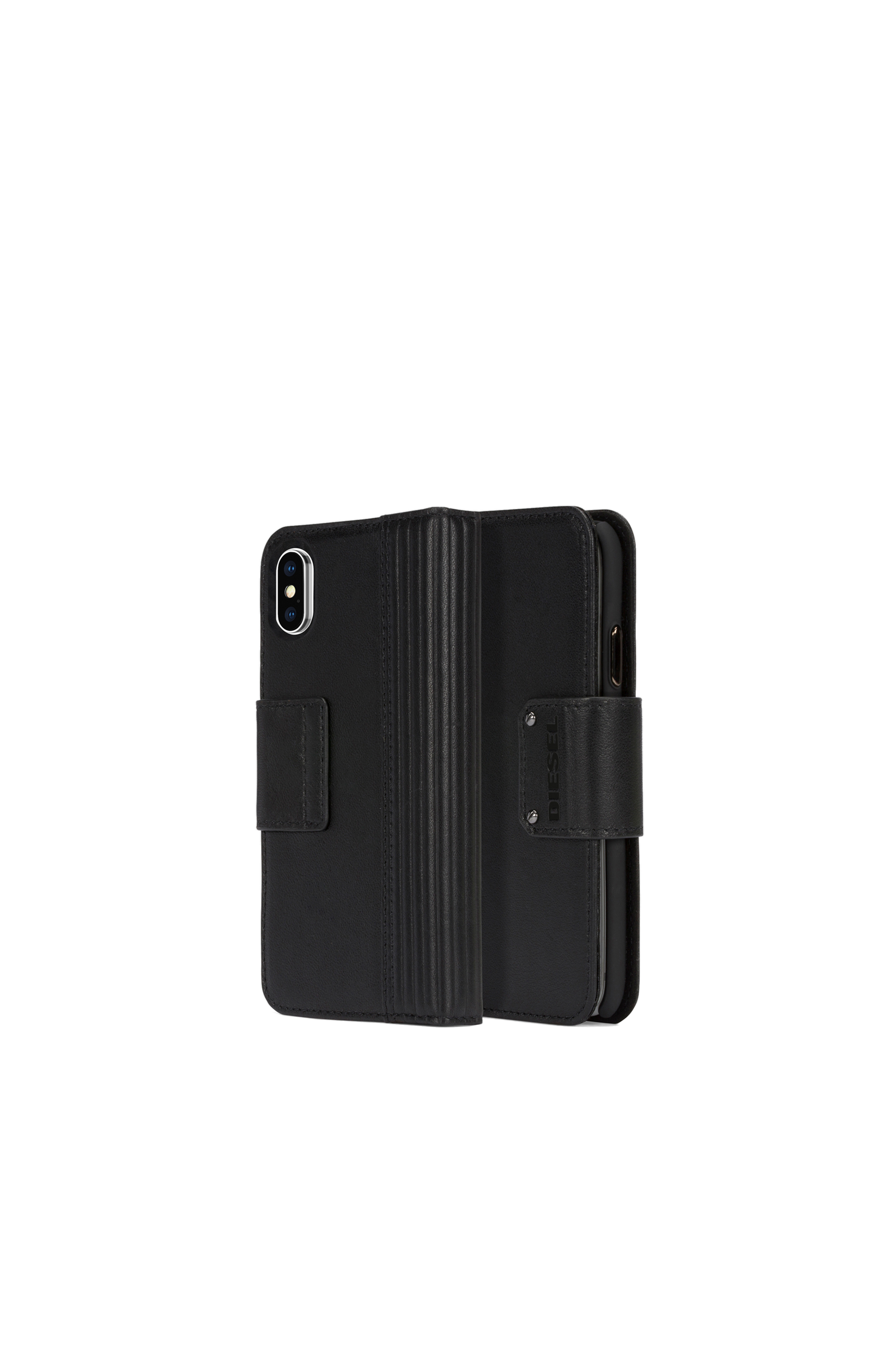 Diesel - BLACK LINED LEATHER IPHONE X FOLIO,  - Klappcover - Image 1