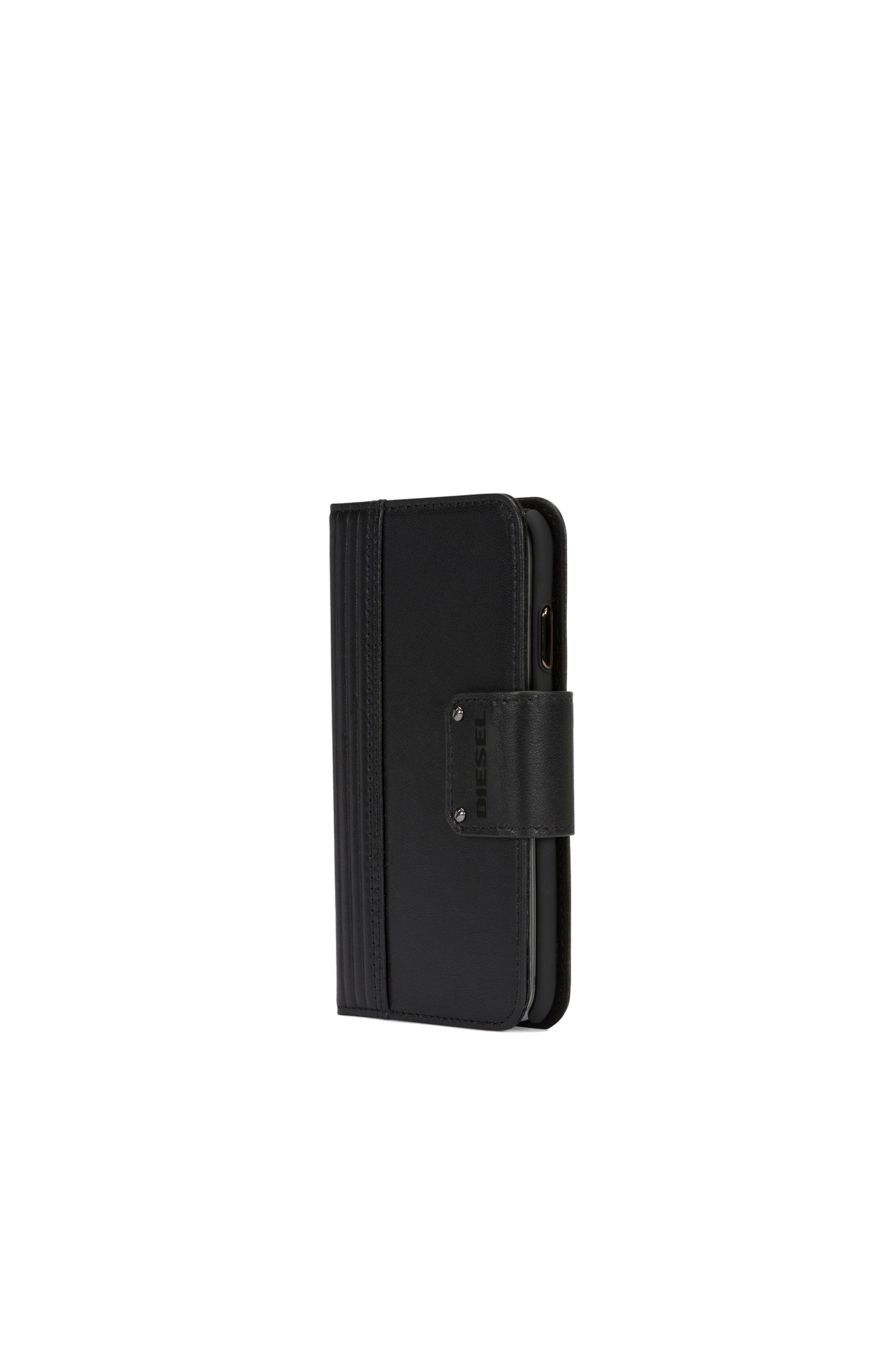 Diesel - BLACK LINED LEATHER IPHONE X FOLIO,  - Klappcover - Image 5